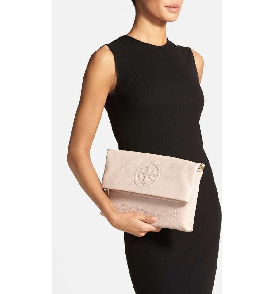 54773bb560bc Tory Burch Bombe Fold-over Light Oak Pebbled Leather Clutch - Tradesy