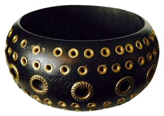 Other Dark Wood & Gold-Tone Stud Bangle Bracelet