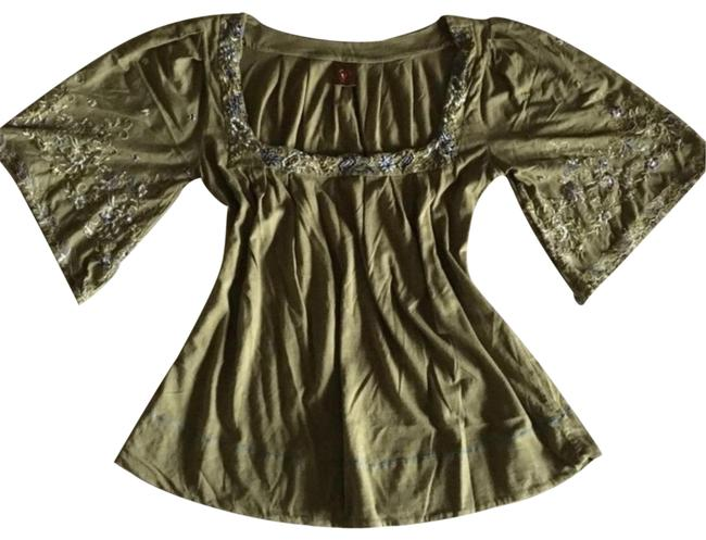 Green Embroidered Peasant Blouse Size 4 (S) Green Embroidered Peasant Blouse Size 4 (S) Image 1