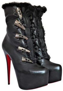 Christian Louboutin Ankle Daffodile Thigh High Over The Knee Black Boots