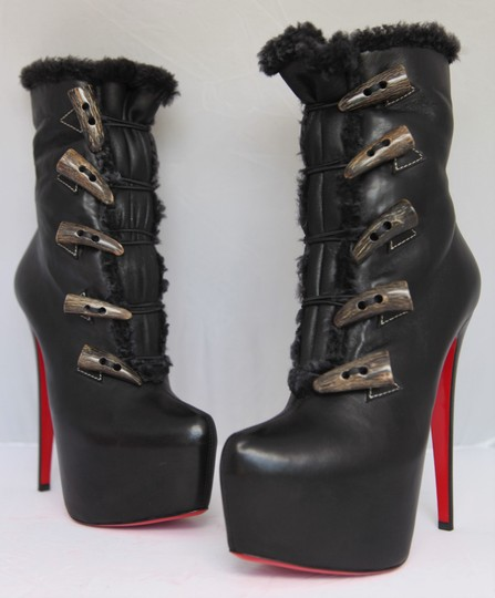 Christian Louboutin Ankle Daffodile Thigh High Over The Knee Black Boots Image 3