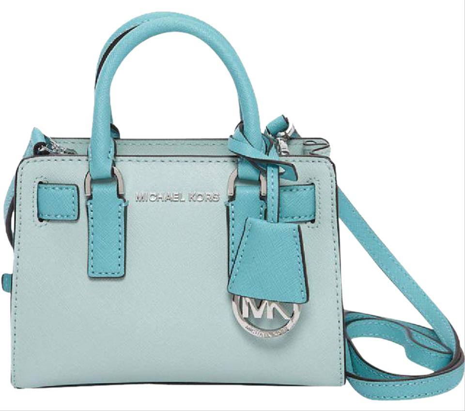 f143cb106fb8 Michael Kors Extra Small Dillon Celadon/Azure Saffiano Leather Top Zip Cross  Body Bag Image ...