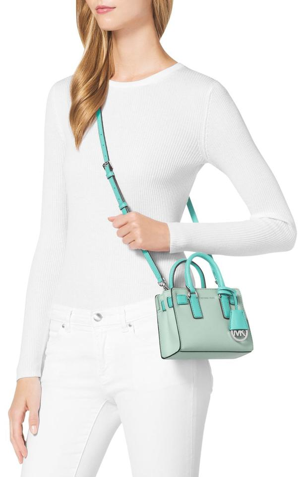 fe9a4a5f5488 Michael Kors Extra Small Dillon Celadon/Azure Saffiano Leather Top Zip Cross  Body Bag Image. 123456