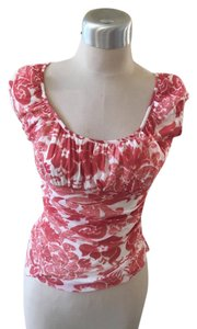 Weston Wear Orange Rust Cute Floral Top Peach