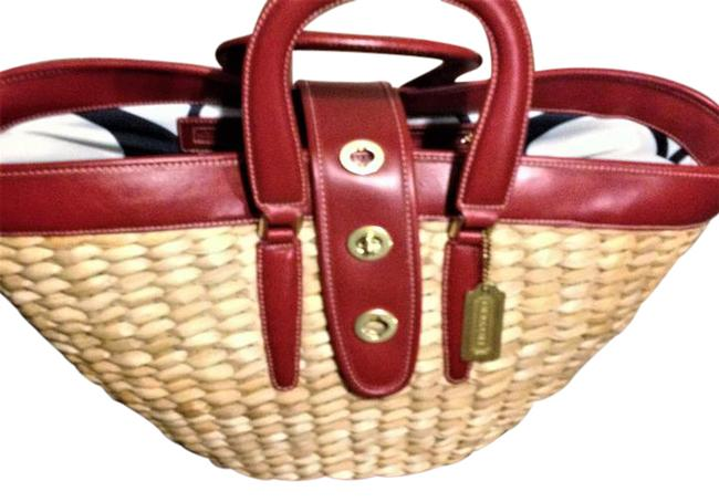 Item - Limited Edition Oversized Tote Red / Straw Leather Beach Bag