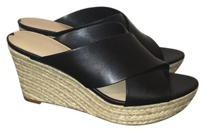 Via Spiga Black Leather Wedges