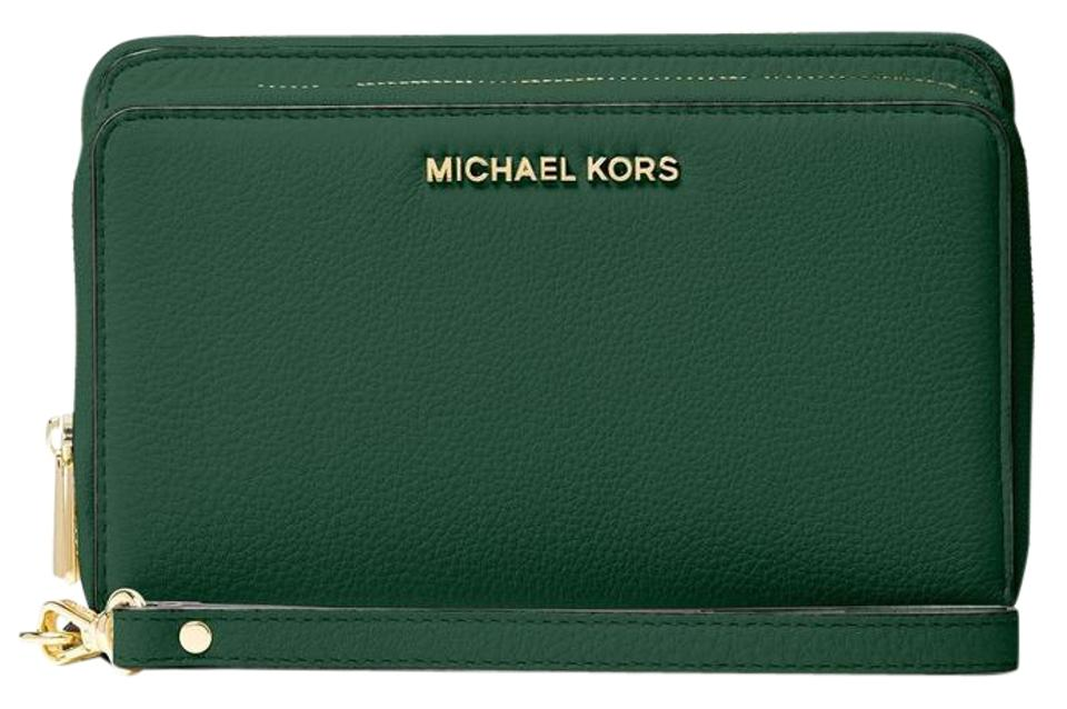 507e765ca547d9 Michael Kors Adele Leather Double Zip Phone Case Wallet 190049712191  32h5gafe1l Wristlet in Moss Image 0 ...