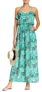 green Maxi Dress by Collective Concepts Racer-back Tropical Print Ruffle Maxi Ruffle