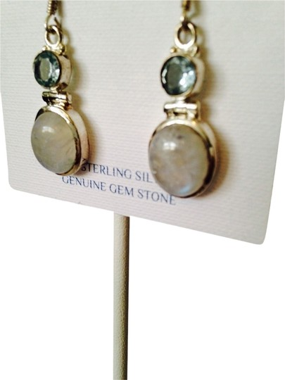 JS Collections Rainbow Moonstone & Faceted Blue Topaz In Sterling Silver Earrings