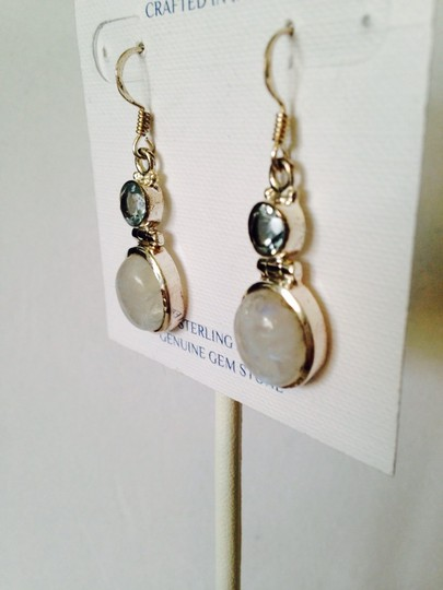 JS Collections Rainbow Moonstone & Faceted Blue Topaz In Sterling Silver Earrings Image 1