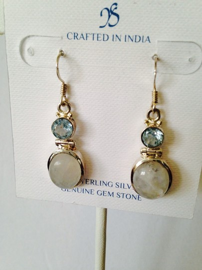 JS Collections Rainbow Moonstone & Faceted Blue Topaz In Sterling Silver Earrings Image 2