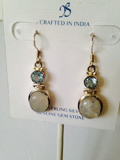 JS Collections Rainbow Moonstone & Faceted Blue Topaz In Sterling Silver Earrings Image 3