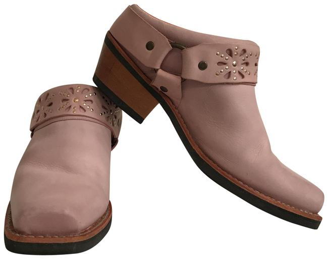 Item - Purple Brown Leather Oiled Distressed Belted Harness Pierced Flower Stud Detail Boots/Booties Size US 9 Regular (M, B)