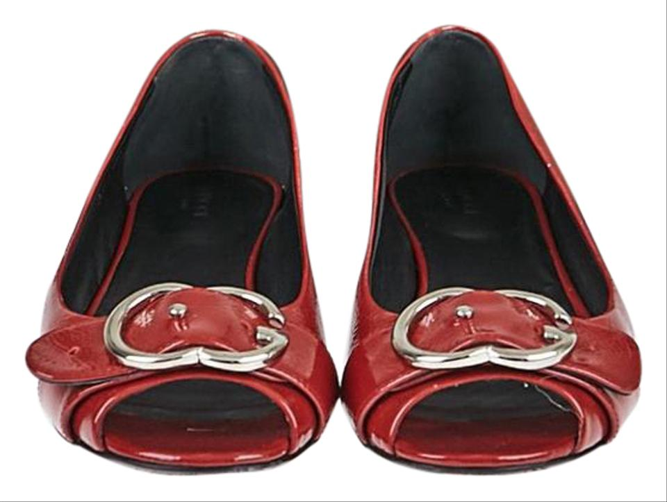 81fafd354b Gucci Red Patent Leather Interlocking G Buckle 8 38.5 Flats Size US ...