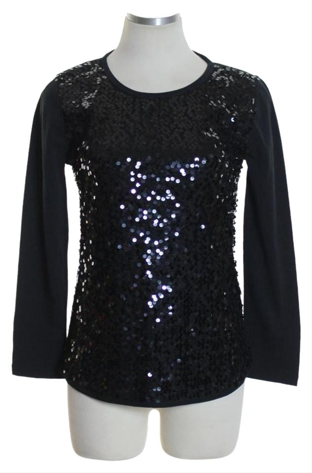 ab5d09c54 J.Crew Black Factory Sequin-front Knit Blouse Tee Shirt Size 2 (XS ...