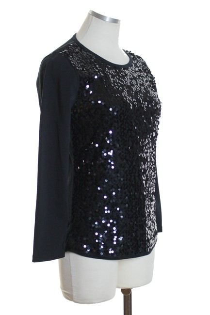 J.Crew Knit Sequin Long Sleeve T Shirt Black Image 1