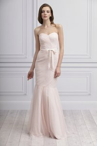 Monique Lhuillier Blush Tulle Trumpet Traditional Bridesmaid/Mob Dress Size 2 (XS)