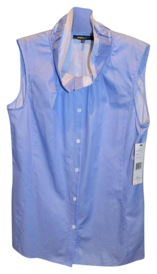 cac848a8b44ade Lafayette 148 New York Sleeveless Button Down Cotton Top Blue Chambray  Image 0 ...