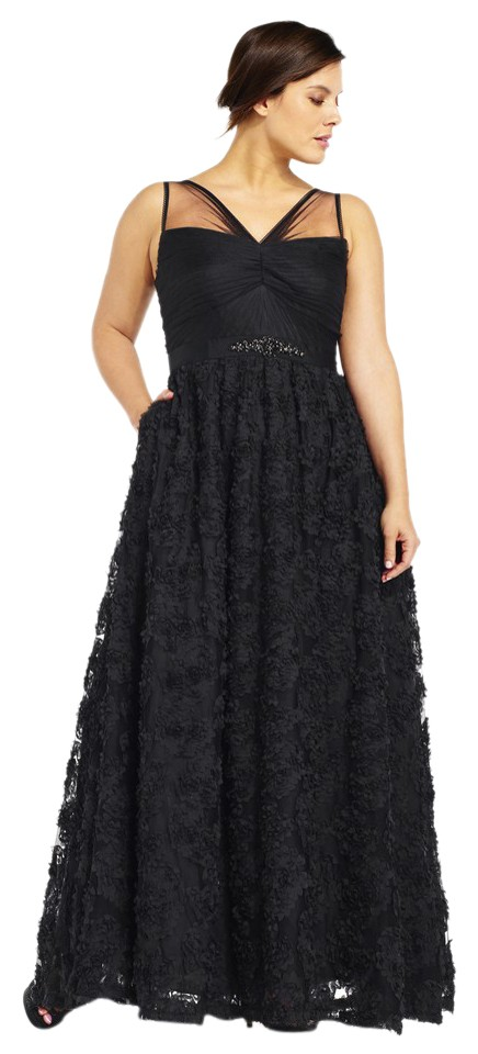 Adrianna Papell Black Embellished Petal Chiffon Ball Gown Msrp Long ...