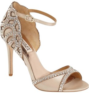 Badgley Mischka Jeweled Wedding Gatsby Deco Nude Sandals