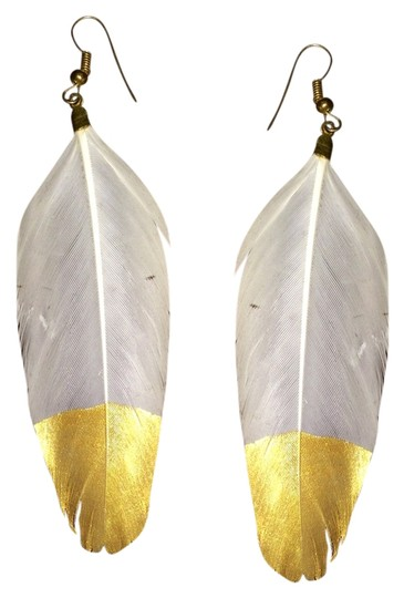 Vintage Gold dipped white feather earrings handmade boho style
