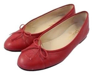 Chanel Cc Logo Red Flats