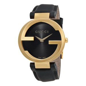 Gucci Gucci Interlocking Black Dial Gold-tone Authentic Leather Unisex Watch