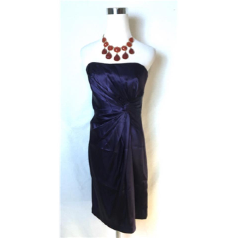 47bd982dce316 David's Bridal Purple Lapis Sateen Strapless Short Formal Dress Size 4 (S)  - Tradesy