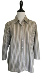Christopher & Banks Longsleeve Business Casual Button Down Top green baige tan