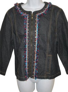 Ruby Rd. Embellished Embroidered Zip Multi Jacket