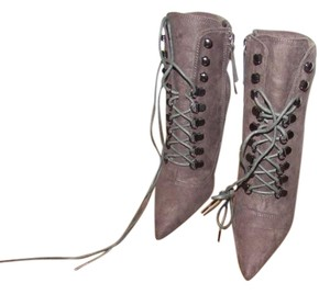 Daya by Zendaya Lace Up Pointed Toe Suede Grey Boots