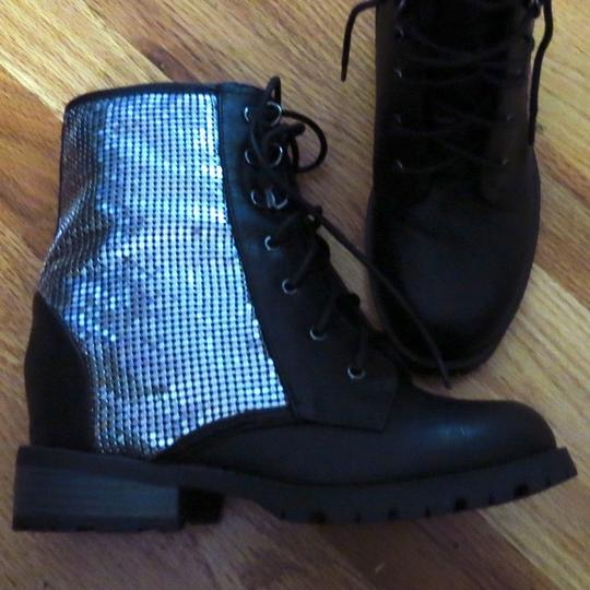 Other Wedge Combat Lace Up Size 8 Silver Cool Edgy Black Boots