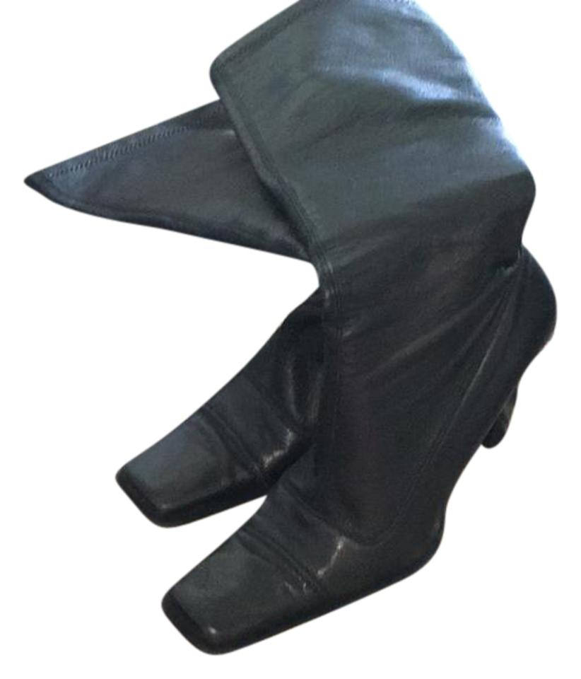 Lew Magram Black Leather Italian Leather Black High Boots/Booties 4f43d2