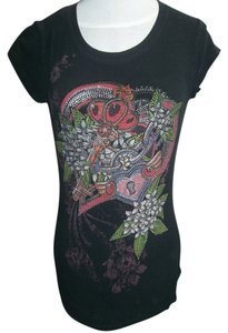 Crystal Saint Cap Sleeve Embellished 95% Cotton Rounded Neck T Shirt Black
