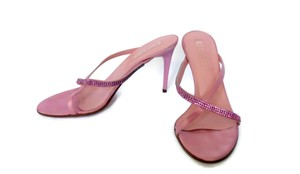 Escada Jewel Crystal Satin Silk Pink Mules