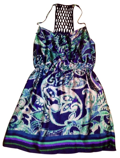 Xhilaration short dress Navy/emerald Print on Tradesy