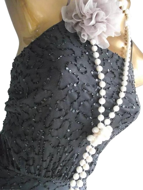 Item - Grey Sequin Beaded Spaghetti Strap Gown Mid-length Cocktail Dress Size 8 (M)