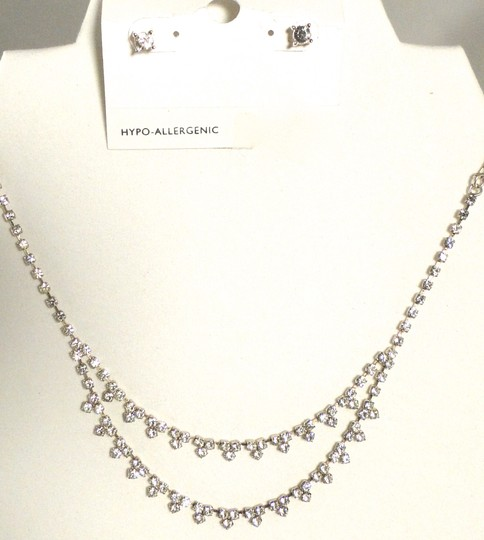 Charter Club New Charter Club Silver Two Row Flower Crystal Necklace 1ct Cz Stud Earrings Set