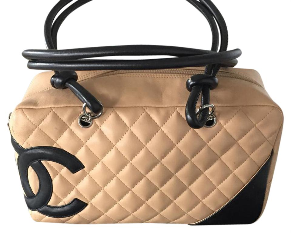 3eb5b74d9b9c Chanel Cambon Bowler Tan and Black Leather Shoulder Bag - Tradesy