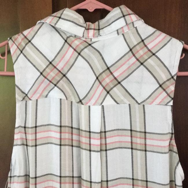 The Laundry Room Sleeveless Collared Sexy Button Down Shirt Pink White Black Plaid