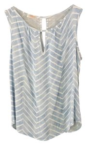 Renee C. Chevron Keyhole Sleeveless Preppy Stitchfix Top light blue