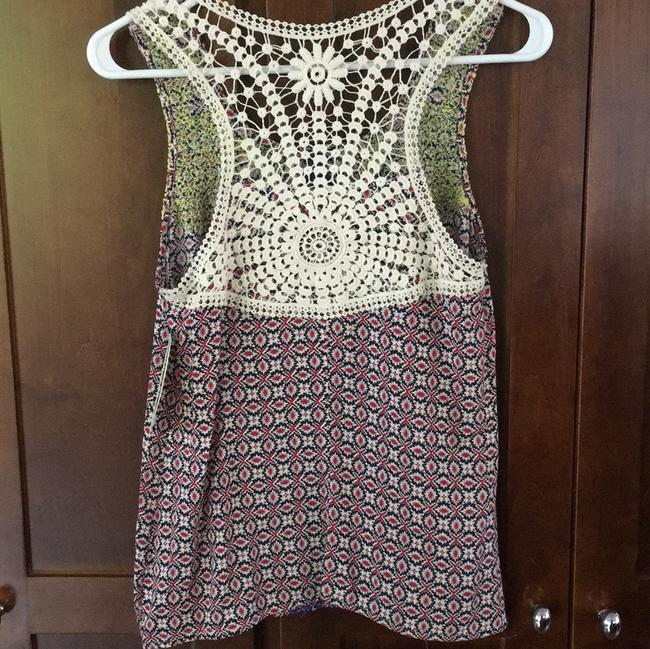 Skies Are Blue Embroidered Crochet Print Festival Boho Top red blue yellow