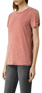 AllSaints Twist Sleeve Cut-out Sexy Burnout T Shirt dusty rose pink