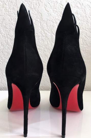 Christian Louboutin Thigh High Ankle Boots Pigalle Black Suede Pumps