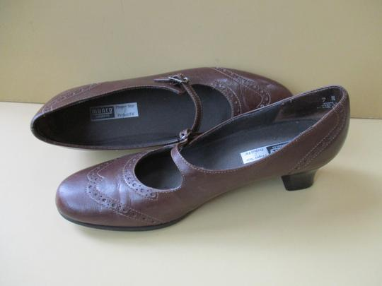 Munro American Mary Jane Strap Stacked Heel Brown Pumps Image 1