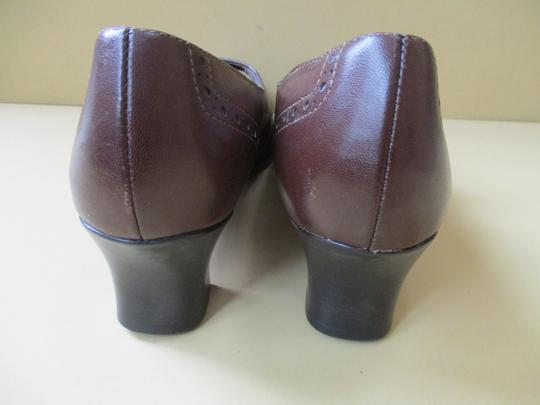Munro American Mary Jane Strap Stacked Heel Brown Pumps Image 3