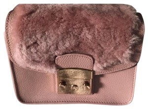 Serpui Fur Leather Chic Small Handbag Trendy Pink Clutch