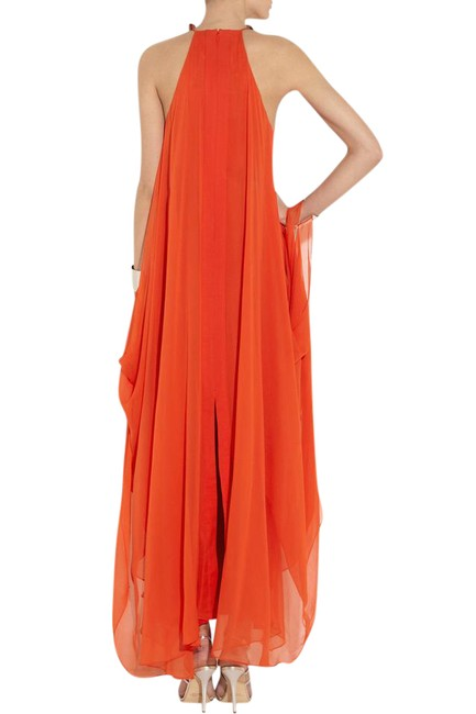 Item - Orange Red | Yakira Lily Metal and Silk-crepe Long Formal Dress Size 8 (M)