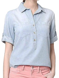 Anthropologie Distressed Subtle Pin Stripes Super Nice Tencel Partial Front Button Roll Tab Sleeves Top Blue
