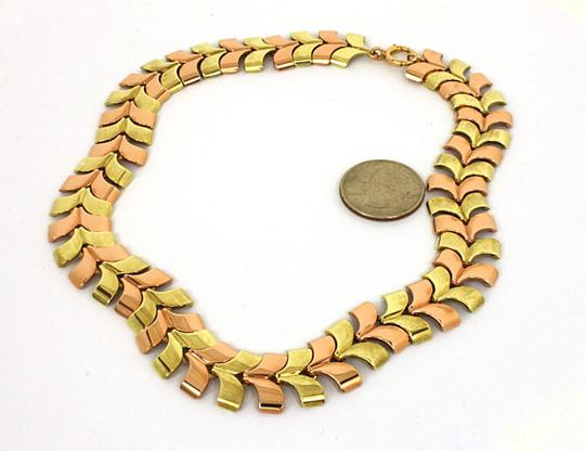 Tiffany & Co. Vintage 14kt Yellow & Rose Gold Fancy Link Hefty Necklace